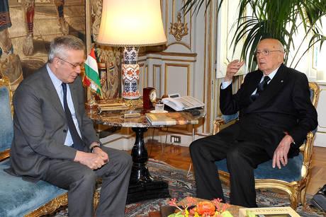 Napolitano con il ministro dell'Economia Tremonti (Ansa)