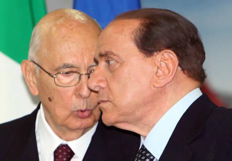 Giorgio Napolitano e Silvio Berlusconi (ansa)